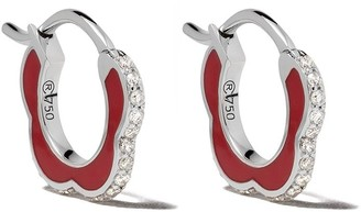 Raphaele Canot 18kt white gold Happy Deco diamond mini hoops