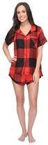 Plush Ultra Soft Short Sleeve Woven Buffalo Plaid PJ Set (Red/Black Buffalo Plaid) Women's Pajama Sets
