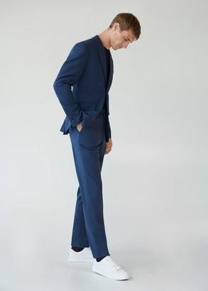MANGO MAN - Slim fit microstructure blazer ink blue - 36 - Men