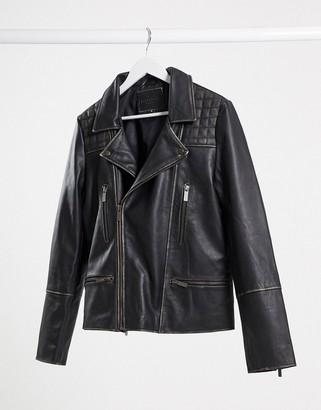 Bolongaro Trevor rasping biker leather jacket
