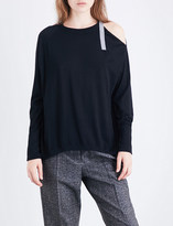 Brunello Cucinelli Buckled cold-shoulder cashmere and silk-blend jumper