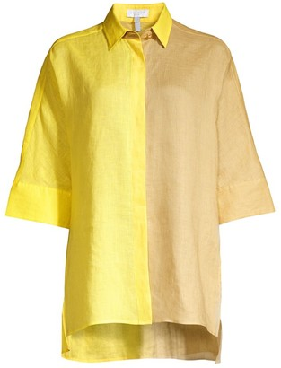 Escada Sport Oversized Two-Tone Linen Shirt