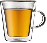 Bodum Canteen Double Wall Glass Set, Mouth Blown Borosilicate Glass - 0.2 L, Transparent, Pack of 2