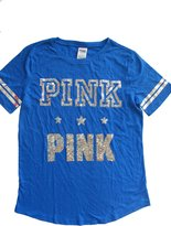 Victoria's Secret PINK Logo Bling Sequin Silver & Blue T-Shirt