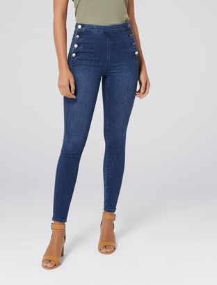 Forever New Heidi High-Rise Ankle Grazer Jeans - Spanish Blue - 4