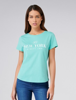 Forever New Ayesha New York Slogan Tee - Green - l