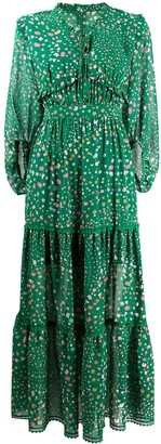 Three floor ruffled neck Hansen dress