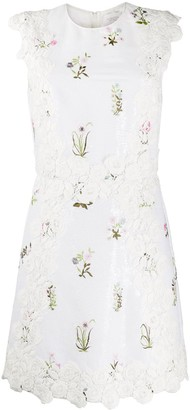Giambattista Valli Floral Embroidered Silk Shift Dress