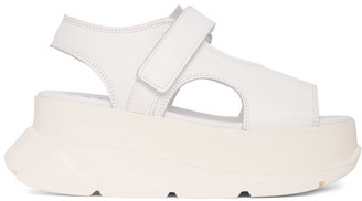 Joshua Sanders White Leather Spice Wedge Sandals