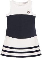 Moncler Sleeveless Striped Stretch Dress, White/Blue, Size 4-6