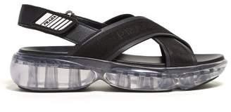 Prada Bubble-sole Cross-strap Slingback Sandals - Womens - Black