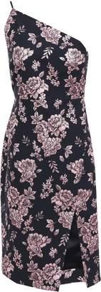 Mason by Michelle Mason One-shoulder Metallic Floral-jacquard Dress