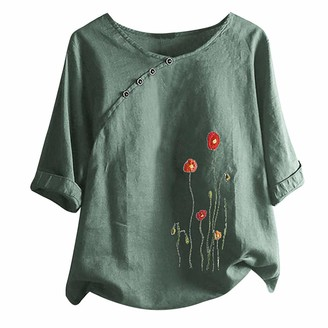 Beetlenew Womens Blouses Women's Tunic Tops Summer Chic Floral Embroidery Top with Button Baggy Graphic T-Shirt Casual Loose Half Sleeve Pattern Tee Shirts Holiday Beach Embroidered Blouses Plus Size Green
