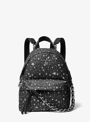 MICHAEL Michael Kors MK Slater Extra-Small Star Embellished Logo Convertible Backpack - Black/silver - Michael Kors