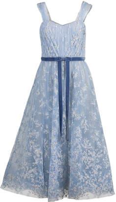 Marchesa Off Shoulder Glitter Tea Dress