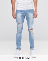 Brooklyn Supply Co. Brooklyn Supply Co Ripped Light Wash Hunter Spray On Jeans with Distressing