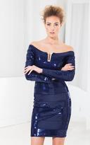 Terani Couture C3710 Sequined Off Shoulder Sheath Dress
