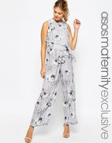Asos SALON Jumpsuit In Mono Floral Print