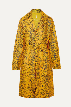 Rains Belted Leopard-print Matte-pu Trench Coat - Yellow