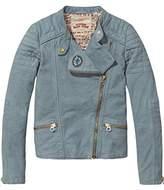 Scotch & Soda R'Belle Girl's Distressed Leather Biker Jacket