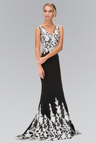 Elizabeth K - V-neckline with White Lace Embellished Gown GL1408