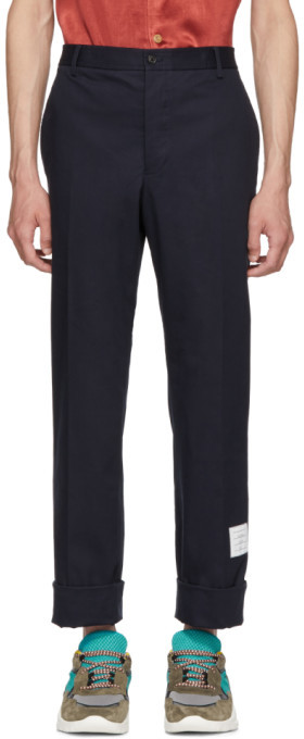 Thom Browne Navy Twill Unconstructed Chino Trousers