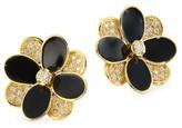 Marco Bicego Petali 18K Gold, Diamond & Black Enamel Hand Engraved Small Flower Stud Earrings
