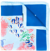 Kiton marine print pocket square - men - Silk - One Size