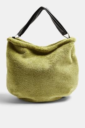 Topshop Olive Faux Fur Hobo Bag