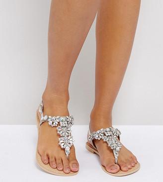Asos FENDER Wide Fit Leather Embellished Flat Sandals