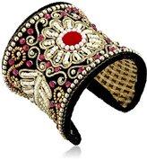 Chamak by Priya Kakkar Beaded Black Velvet Cuff Bracelet
