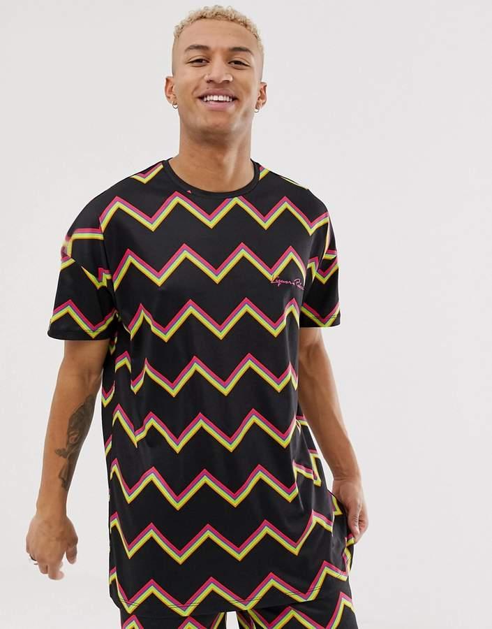 N. Liquor Poker two-piece t-shirt with zig zag stripe