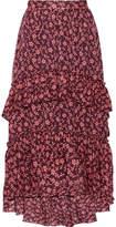Ulla Johnson Maria Ruffled Printed Cotton And Silk-blend Jacquard Maxi Skirt - Burgundy