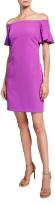 Trina Turk Modern Off-the-Shoulder Ruffle-Sleeve Sheath Dress