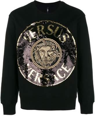 Versus sequin-embellished crest logo sweatshirt
