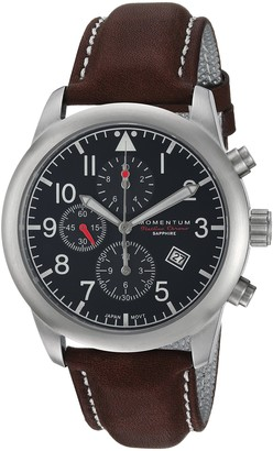 Momentum Men's Chronograph Collection Stainless Steel Japanese-Quartz Watch with Leather Strap