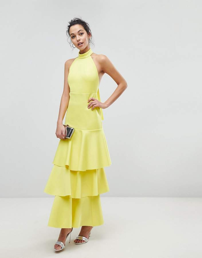 Asos Design Halter Neck Tiered Bow Back Maxi Dress