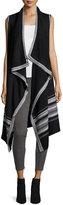 Neiman Marcus Open-Front Long Vest, Black/Ivory