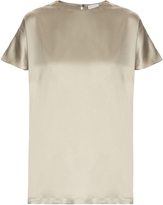 Brunello Cucinelli Short-sleeved silk-blend satin top