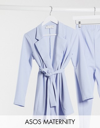 ASOS DESIGN Maternity jersey wrap suit blazer in pale blue