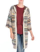 Cliche Hooded Tribal Knit Lurex Cardigan