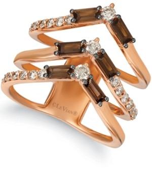 LeVian Le Vian Baguette Frenzy Smoky Quartz (9/10 ct. t.w.) & Nude Diamond (5/8 ct. t.w.) Chevron Statement Ring in 14k Rose Gold