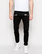 Diesel 5 Pocket Trousers Slim Fit Zip Detail - Black