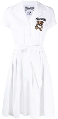 Moschino Bead-Embellished Logo Shirt Dress