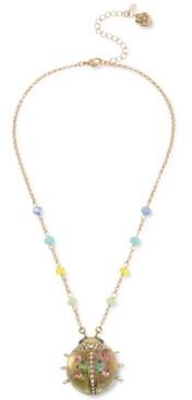 "Betsey Johnson Gold-Tone Pave Floral Ladybug Pendant Necklace, 16"" + 3"" extender"