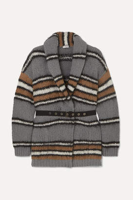 Brunello Cucinelli Belted Striped Wool-blend Cardigan - Gray