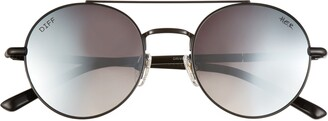 DIFF x H.E.R. Driver 51mm Mirrored Round Aviator Sunglasses