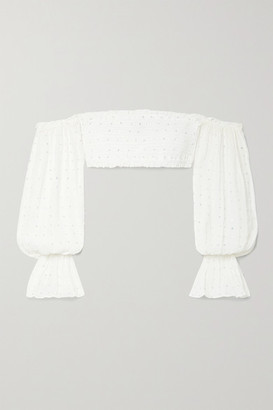 retrofete Paige Cropped Embellished Shirred Silk-crepon Top - White