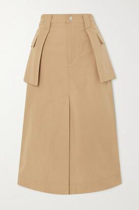 Ganni Layered Organic Cotton And Linen-blend Canvas Midi Skirt - Camel