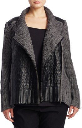 Nic + Zoe, Plus Size Leather-Trim Cable Knit Jacket